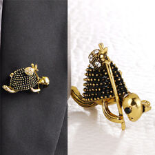 Enamel Turtle Brooch Pin Crystal Animal Brooch Suit Collar Pin Unisex Jewelry  X