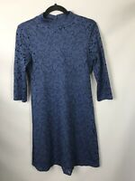 M&S Dress Size 8 Navy Lace Overlay Lined High Neck Sheer Sleeves Shift