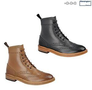 Kensington Full LEATHER Brogue 7 eyelet Lace-up Ankle Boots Size 7-12 UK