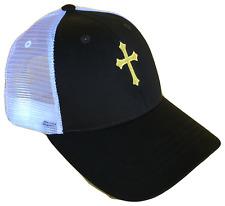 Black & White Christian Cross Mesh Golf Cap Hat Caps Hats God Jesus Gold Logo