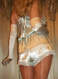 Vtg Style Fair Aqua Satin Lace Tap Panty Slip Romper Teddy Bodysuit 3X 48 50
