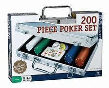 200 pc Poker Set In Aluminum Case for Cards, Texas Hold Em Poker, NEW