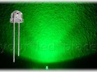 100 x LED 5mm straw hat - GRÜN, 90-120° Kurzkopf Flachkopf Ultrahell green