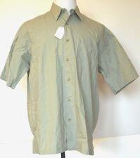 NEW NWT Van Heusen Salt Water Cottons Sage Green Button-Front S/S Shirt L