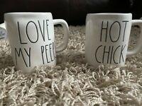 Rae Dunn Hot Chick & Love My Peeps Coffee Tea Mugs Pink Coffee Cups Set of 2 HTF