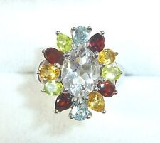 4.03ct Natural Quartz/Citrine/Garnet/Peridot/Topaz Sterling Silver Ring