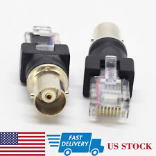2pcs BNC Female to RJ45 Male Adapter Coaxial Barrel Coupler Connector (US)