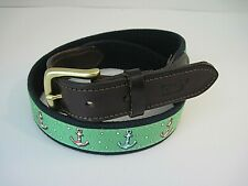 Vineyard Vines Anchors Canvas Leather Belt Men's  Green Red White Blue Size 30