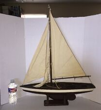 "VINTAGE WOODEN SAILBOAT MODEL AND STAND 3 CANVAS SAILS WORKING RUDDER 23"" Long"