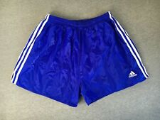 ADIDAS Shorts 90s Vtg Sprinter Football Nylon 3-Stripe Shiny Blue Sports L