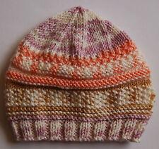 Hand knitted Baby Hat Cream  Peach Mix Newborn