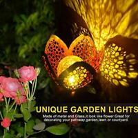 1/2Pcs LED Solar Power Flower Stake Lights Outdoor Garden Yard Lamp Warm Glass