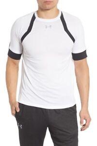 Under Armour Men's HexDelta Run Fitted White & Black T-Shirt