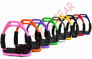 FLEXI SAFETY STIRRUPS HORSE RIDING BENDY IRONS 4.75 INCHES