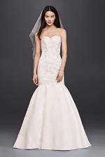 BESPOKE Davids Bridal Trumpet Wedding Dress with Lace Bodice and lace trail