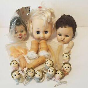 Vintage Doll Heads Parts Craft  LOT Plastic Bisque Paper Mache Ornaments Clown