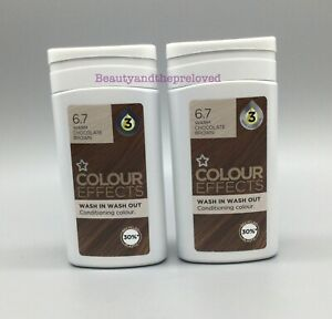 2x Superdrug Conditioning Hair Colour Effects Wash In/Out Warm Chocolate Brown