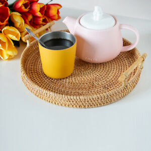 Round Rattan Storage Tray Basket with Handle Hand-Woven Bread Fruit Food Display