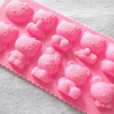 Chocolate Muffin hello kitty DIY Silicone Pink Ice Mold Sugercraft Cake Topper