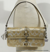 2-PC NEW NWT COACH MADISON LUREX FLAP Gold Silver Signature + KEY RING +