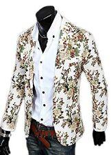 Stylish Men Retro Casual Floral Pattern Slim Fit Suit Blazer Jacket Outwear Coat