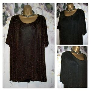 MARKS AND SPENCER CURVE PLUS TOP UK 24, Gold sparkle Glitzy Occasion Evening Top