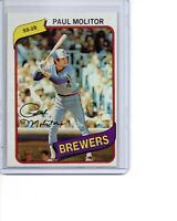 1980 Topps # 406 Paul Molitor Milwaukee Brewers HOF SEE SCANS