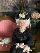 Vintage Artisan Miniature Dollhouse Doll Benevolent Elegant Cat Lady Sculpted UK