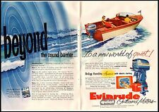 1955 Evinrude Big Twin Outboard Motor 2 Page Vintage Print Ad
