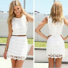 Flower Pattern Sleeveless White Lace Top Tunic Above Knee Women Party Dress