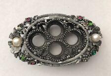 Vintage Vanity Trinket SIGNED FLORENZA Lipstick Holder Rhinestone Jewelry AS IS