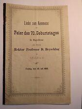 Halle a. S. - 1893 - Lieder zum Kommers - Feier Rektor Professor D. Beyschlag