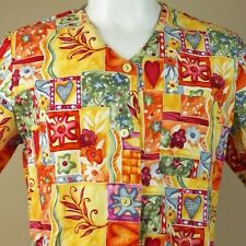 Nurse Scrub Unisex Large Flowers Hearts Medical Hospital Button Front Fall Color
