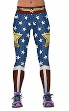 WONDER WOMAN Logo W Stars Yoga Pants OSFM Leggings PREMIUM QUALITY!!
