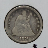 1876 25c SEATED LIBERTY QUARTER LOT#N495