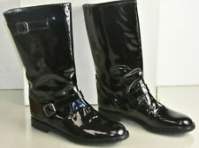 NEW Manolo Blahnik CAMPOBA Patent Leather Motto Boots Flat Black Shoes 40