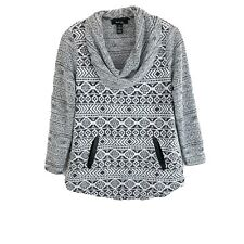 Style & Co Pullover Sweater Aztec Printed Cowl Neck Pockets Womens Petite Medium