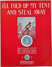 "SHEET MUSIC STORE POSTER ""I'LL FOLD UP MY TENT AND STEAL AWAY"" ADVERTISING LARGE"