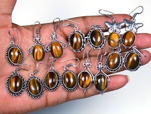 Bumper Sale Lot !! 200 Pairs Natural Tiger's Eye Gemstone Silver Plated Earrings