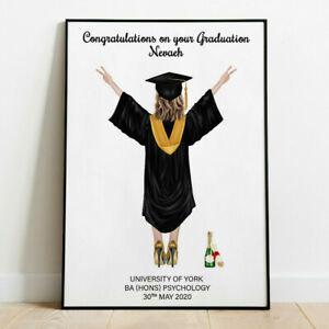 Personalised Graduation Word Art Print End of Term Picture Poster Keepsake Gift