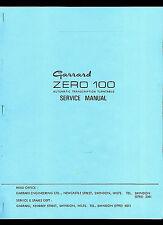 HQ *COPY*  Garrard Zero 100 Turntable Record Player Owner's Service Manual