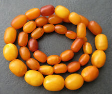Antique Natural Butterscotch Egg Yolk Baltic Amber Beads Necklace