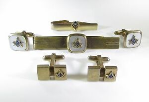 Gold Tone Cufflinks and Tie Clips with Fraternal Order Symbols