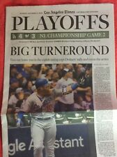 LA TIMES SPORTS SECTION OCTOBER 14 2018 PLAYOFFS TURNER DODGERS BREWERS GAME 2