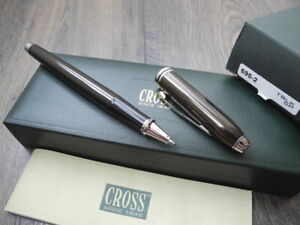CROSS TOWNSEND Quartz BROWN Lacquer ROLLERBALL PEN SET NEW