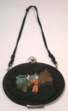 ANTIQUE ART DECO BLACK SILK RIBBON EVENING BAG PURSE W/CELLULOID CHINESE FIGURE