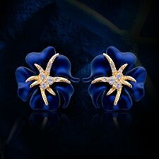Fashion Cuff Blue Party Crystal Jewelry Earrings Flower Starfish Earrings