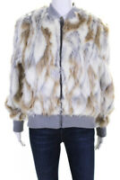 Cupcakes and Cashmere Womens Sia Faux Fur Jacket Beige White Size Large