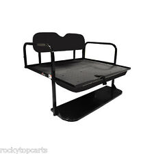 GTW Steel EZGO Golf Cart Black Rear Flip Seat Fits TXT and T48 1996 and Up
