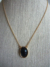 """16"""" Thin Goldtone Vintage Necklace with Mood Changing Oval Pendant"""